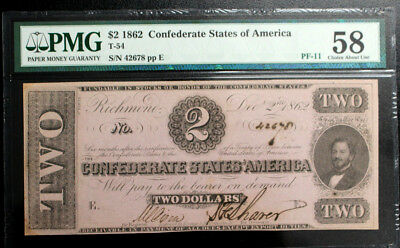 T-54 1862 $2 Confederate States of America Paper Money PMG 58  CHOICE AU PF-11