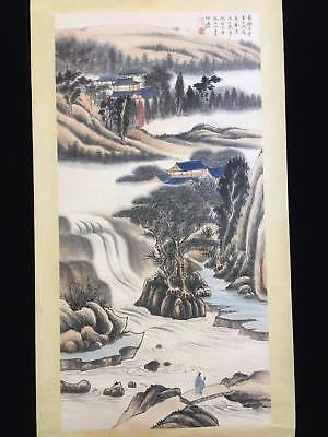 Excellent Chinese 100% Hand Painting & Scroll Landscape By Zhang Daqian 张大千