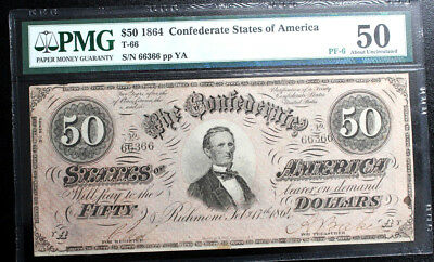 "T-66 $50 1864 Confederate Currency CSA PMG 50  PF-6 R9 ""3 OVER 1"" SERIES RARE"