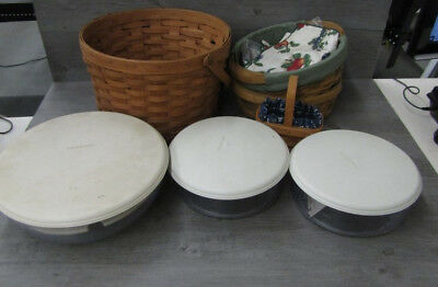 Lot of Longaberger Handmade Baskets x4 w/ Plastic Container Inserts x3