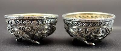 Pair Of Indian Sterling Salt Dishes Cellars
