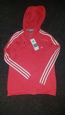 Adidas 3 Stripes Pink Hooded Zip Jacket/ Track Top Xs womens