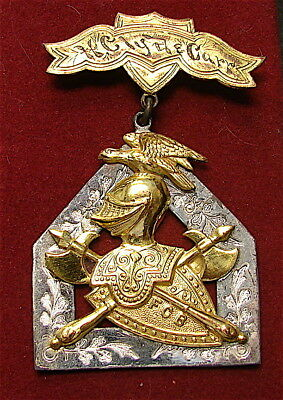 LARGE!!!Antique Sterling Silver FCB Knights of Pythias Medal-------free Ship
