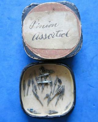 Antique Container Of Assorted Pocket Watch Pinions For Watch Repair