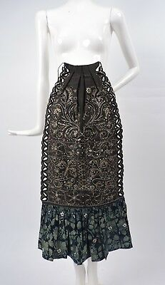 Antique Ethnic 19Th C Hand Sewn Apron For Dress W Embroidery