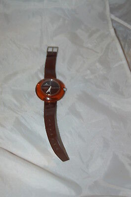 Vintage Meister-Anker Translucent Lucite Watch Manual Amber Rare!