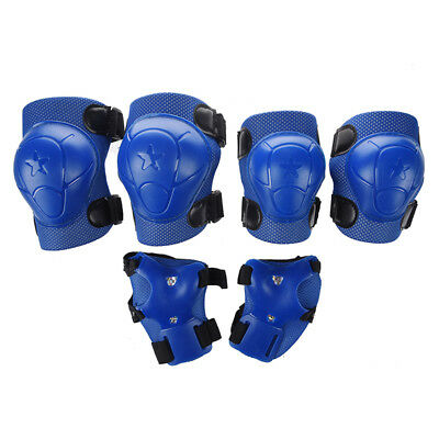 3X(Kid Cycling Roller Skating Knee Elbow Wrist Protective Pads - Dark Blue G8Y8)