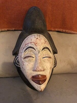 Antique PUNU MASK AFRICAN ART TRIBAL TRADITIONAL MASK Carved Wood Painted Nice
