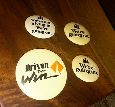 4 Vintage Pins International Harvester We're Going On - IH Pinback Buttons