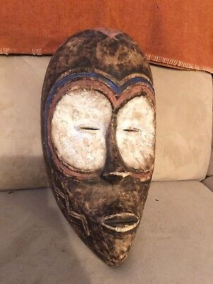 Antique Gabon MASK AFRICAN ART TRIBAL TRADITIONAL MASK Carved Wood Painted Fang