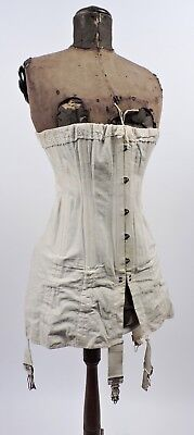Antique Edwardian Large Size Tall Hourglass Corset For Dress W Rear Lacing