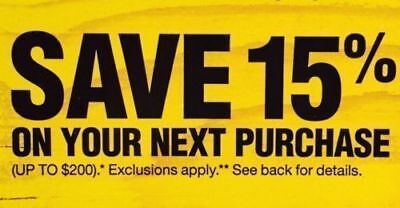 Home Depot 15% Off Coupon In Store Only Up to $200 Saving Offer Ends 1/7/2019