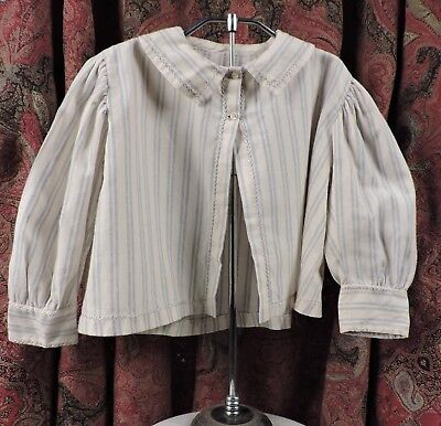 Sweetest Victorian 19Th C Boy'S Striped Cashmere Shirt W Feather Stitching