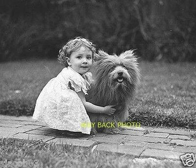 REPRINT OF VINTAGE 1930's PHOTO - LITTLE AUSTRALIAN GIRL WITH TERRIER - ADORABLE