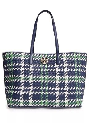 51c36b67776 NWOT Tory Burch Duet Woven Leather Tote Navy green Ivory AUTHENTIC Retail   595
