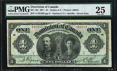 1911 $1 DOMINION  OF CANADA Banknote PMG 25 VF Green Line Series A-C DC-18a