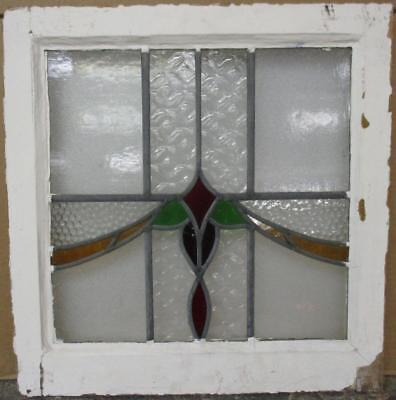 "OLD ENGLISH LEAD STAINED GLASS WINDOW Pretty Colorful Sweep Design 20.25"" x 21"""