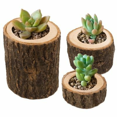 Wooden 1Pc Bark Candlestick Candle Holders Stand Planter Flower Pot Home Decor
