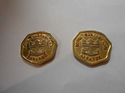 Vintage Royal Caribbean's Labadee Coin Token - Gold Tone - Get 2 Coins!
