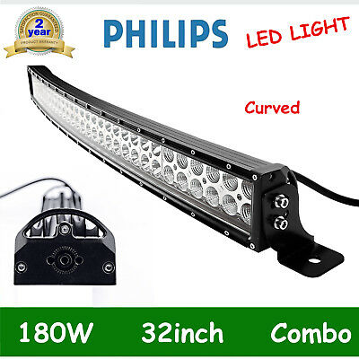 """Philips 32"""" 180w LED Work Light Bar Spot Flood CURVED Offroad Jeep Truck RZR NEW"""