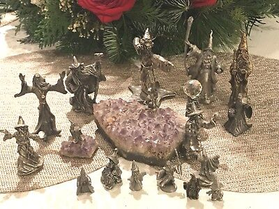 Lot of 18 Pewter Wizard Sorceress Dragon Amethyst Geode Crystal Ball Miniatures