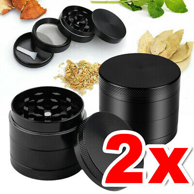2X Herb Tobacco Grinder Smoke Muller Metal 4-Piece Magnetic Crusher Scraper AU