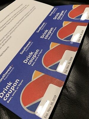 Four (4) Southwest Drink Coupons, Expires November 30, 2019. No Cost Shipping