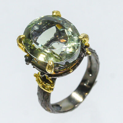 Very Pretty Natural Green Amethyst 925 Sterling Silver Ring Size 6.75/R49203