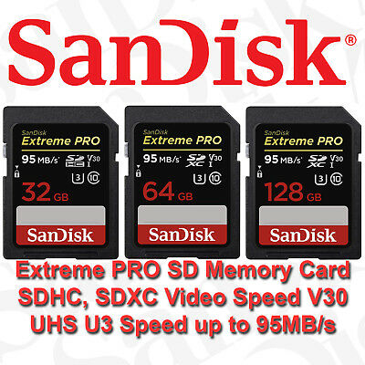 SanDisk Extreme PRO 32GB 64GB 128GB 256GB SD Memory Card Video Camera DSLR U3 HD