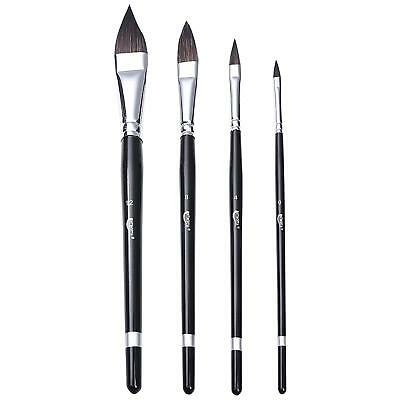 Sable Hair Paint Brushes Versatile Wash Paint Brush Set of 4 Cat's Tongue Design