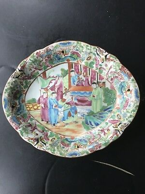 19th Century Antique Chinese Export Famille Rose Porcelain  Mandarin Bowl