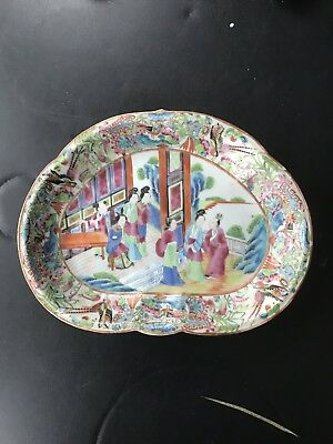 19th Century Antique Chinese Export Famille Rose Porcelain  Mandarin Plate