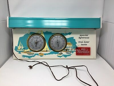 Old Milwaukee Beer Lighted Sign Nautical with Thermometer Barometer 1962 Vintage