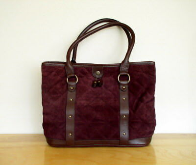 J Crew Womens Quilted Leather Bag Plum Purple Brown Tote Preppy Purse  Handbag ad7f3c7405