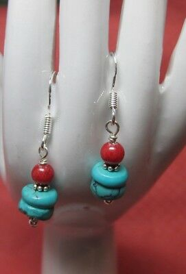 Handmade Sterling Silver Red Coral Disc Turquoise Semi Stone Earrings