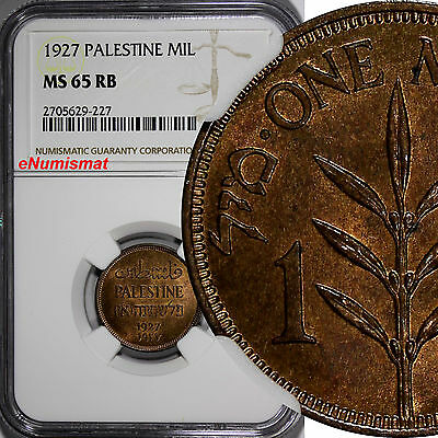 Palestine Bronze 1927 1 Mil GRADED NGC MS65 RB NICE BRIGHT RED  KM# 1