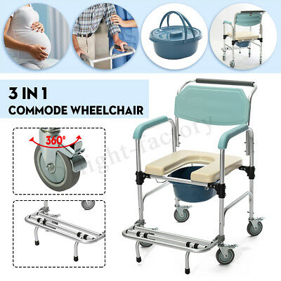 Commode Wheelchair Bedside Toilet&Shower Rolling Chair Bathroom Fall Prevention