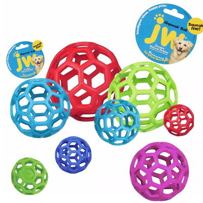 JW Pet Hol-ee Roller Original Treat Dog Ball Toy Natural Rubber-Assorted Colors