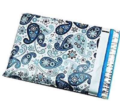 Lot of 25 Blue Paisley Designer Mailers Poly Shipping Envelopes Boutique Bags