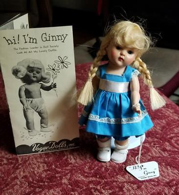 Vintage Vogue Ginny Doll Blonde  Paint Brush Braids + Tag Dress Hang Tag Booklet