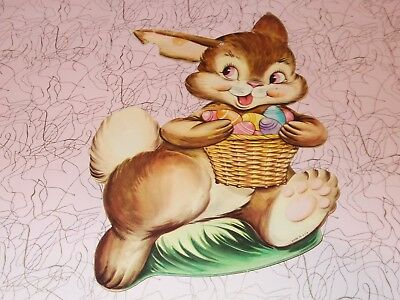 "Vtg Easter Bunny Die Cut Cardboard Decoration 8"" 1950 Rare Made In Usa #2"