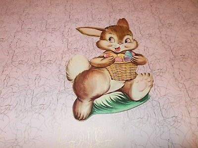 "Vtg Easter Bunny Die Cut Cardboard Decoration 8"" 1950 Rare Made In Usa #3"