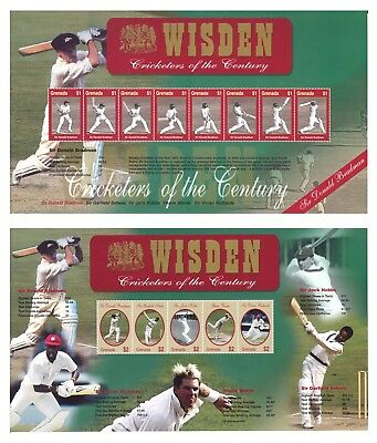 Grenada Wisden Cricketers of The Century 2 Stamp Sheets MUH Sir Donald Bradman
