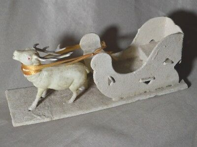 Vintage Celluloid Reindeer With Mica Covered Sleigh