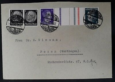 RARE 1942 Germany Cover ties 4 stamps canc Lowenberg to Posen