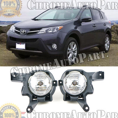 Pair of Clear Lens Fog Lights / Lamp For 2013 2014 2015 Toyota Rav4