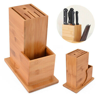 Bamboo Wood Holder Block Scissor Slot Storage Rack Wooden Kitchen Organizer Tool