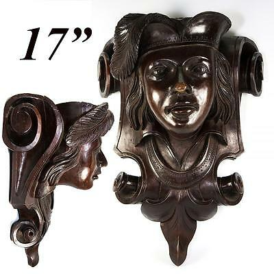 "LRG 17"" Antique Victorian Carved Figural Wall, Bracket Shelf, Renaissance Theme"