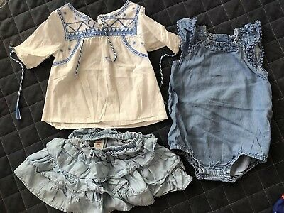 Seed Baby Girl 12-18 Months Romper Top And Skirt Bundle