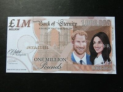 Royals Prince Harry + Meghan Markle SUITS One Million Note Bill 1000000 Banknote